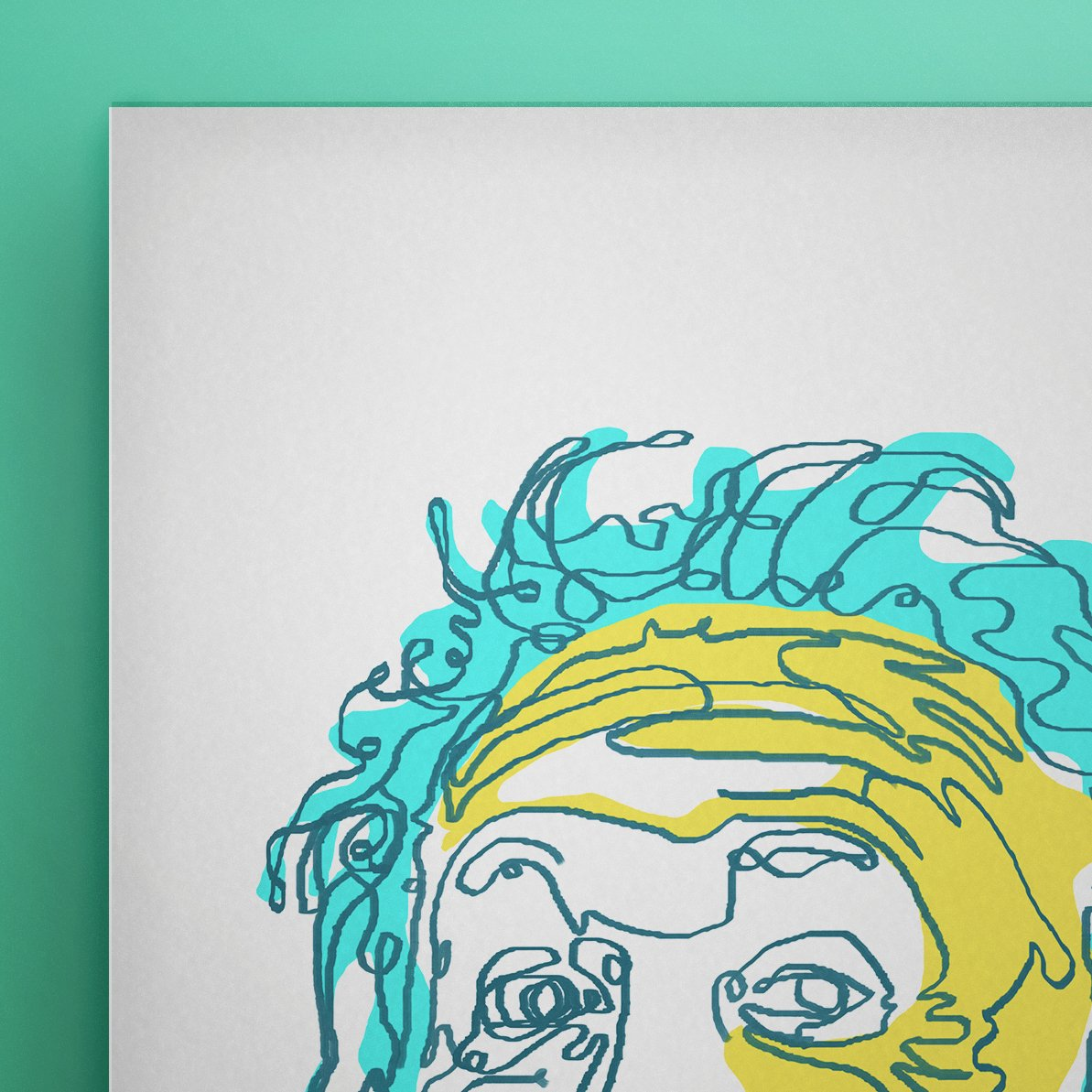 Einstein Line Art | Painting | Print | Poster | Albert Einstein Tongue Out Cartoon - EGLOOP