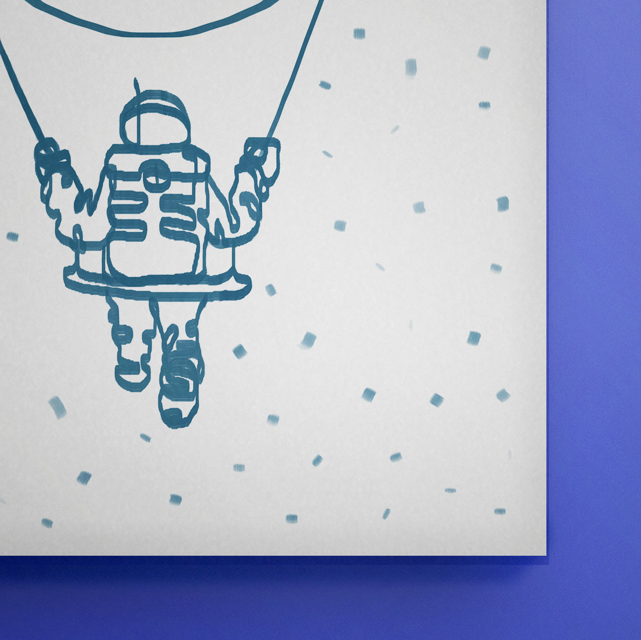 Moon Swinging Astronaut Line Art | Print | Poster | Painting | Drawing - EGLOOP