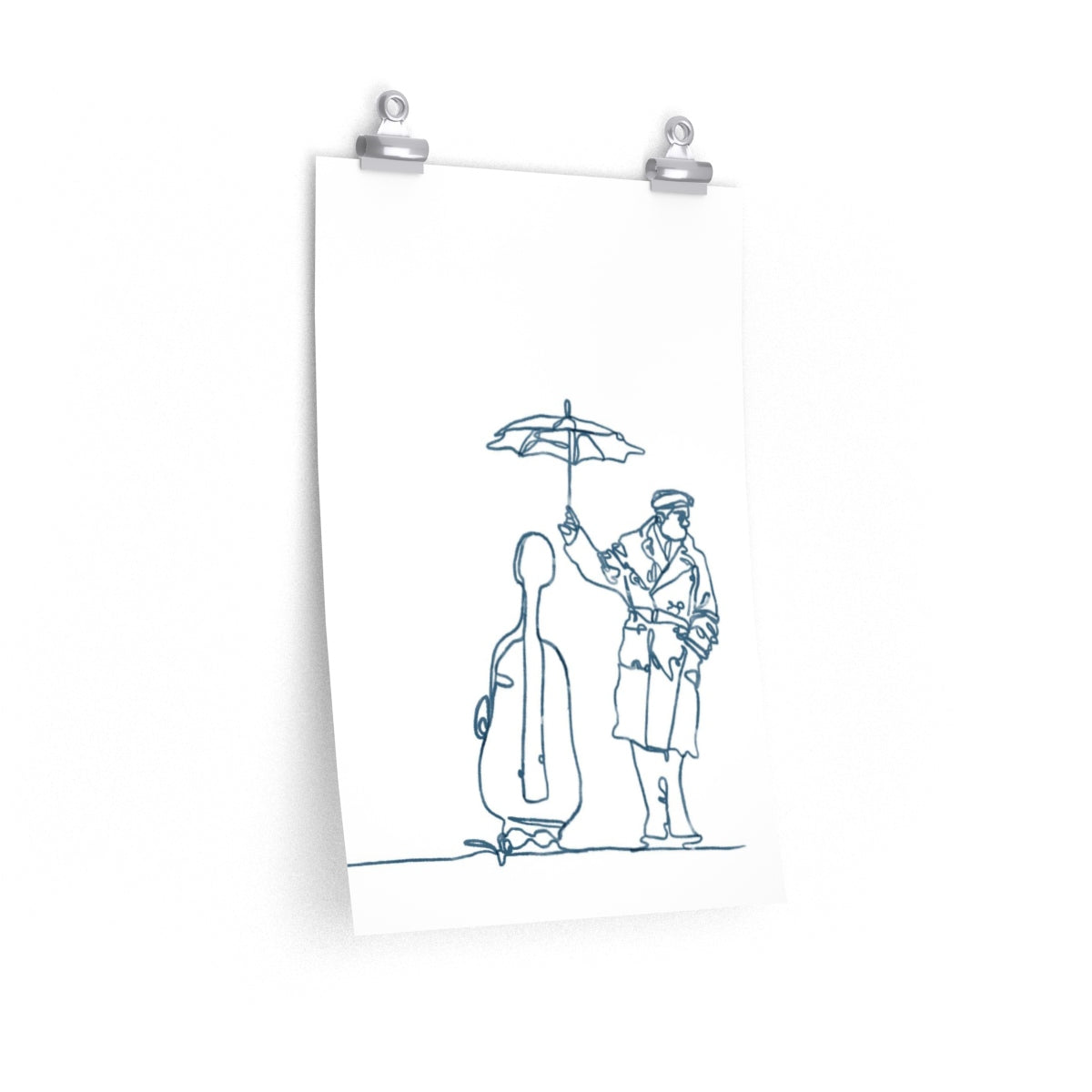 Man Holding An Umbrella For His Cello | Print | Poster | Premium Matte vertical posters - EGLOOP