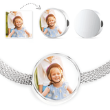 Circular Picture Charm Steel Bracelet