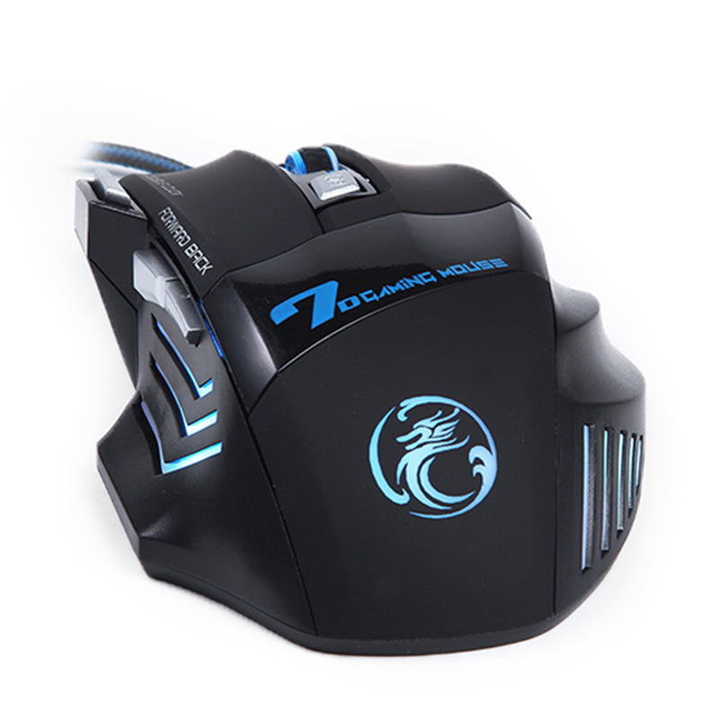 Professional Wired Gaming Mouse 5500 DPI Adjustable 7 Buttons Cable USB LED