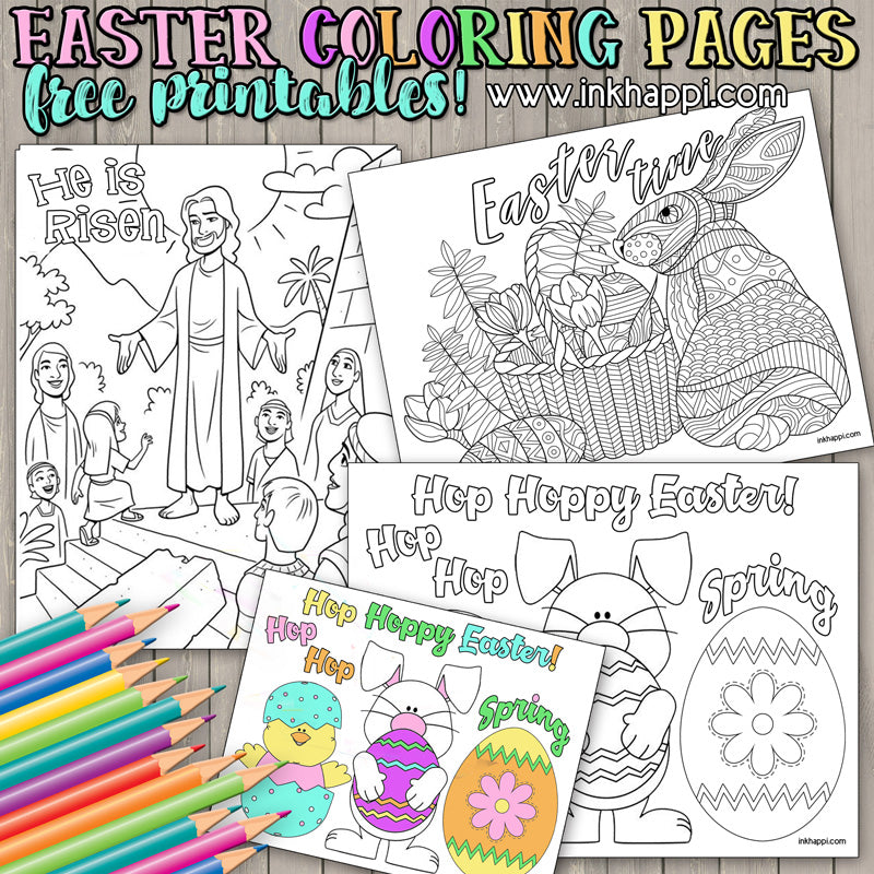 FREE Easter Coloring Pages - Happiness is Homemade | 800x800