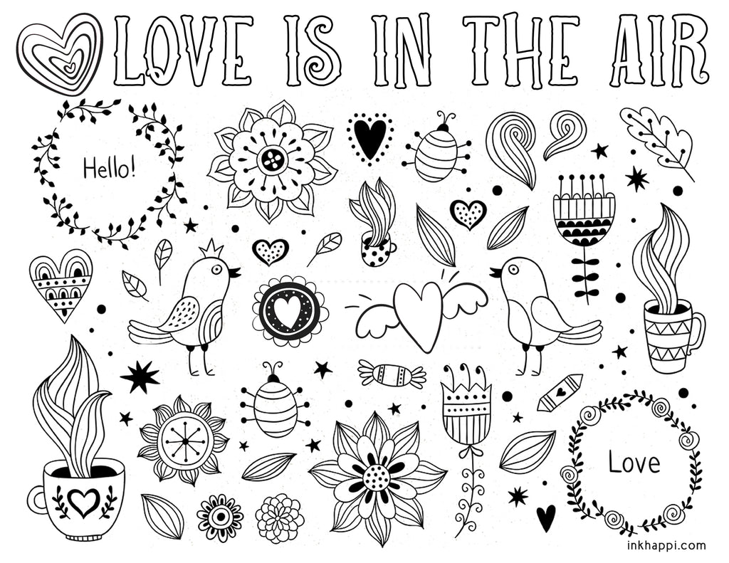 20 Free Printable Valentines Adult Coloring Pages - Nerdy Mamma   791x1024