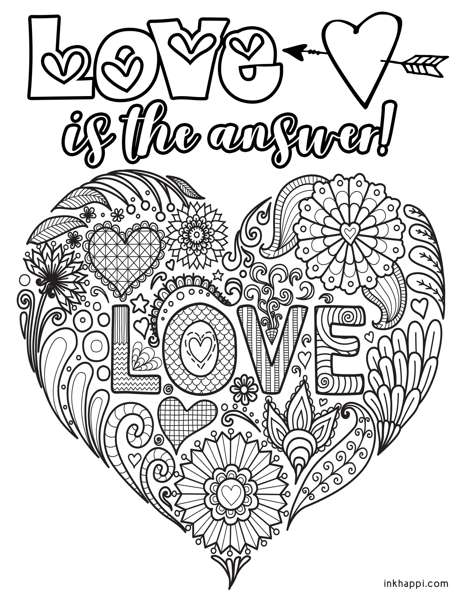 LOVE Coloring Pages – inkhappi