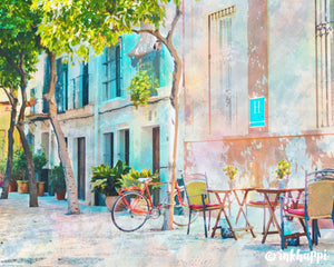 OUTDOOR CAFE WATERCOLOR