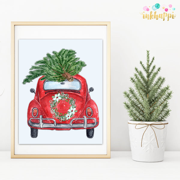 Holiday Car With Wreath and Tree