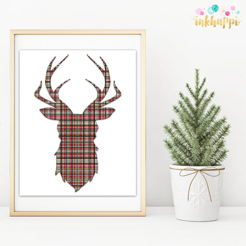 Red & Green Plaid Reindeer Head