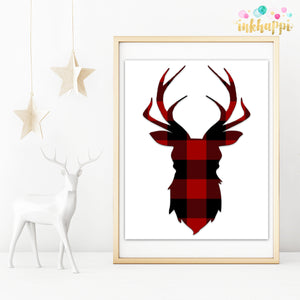Red Buffalo Checked Reindeer Head