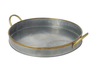 Round Silver Tray with Brass Handles