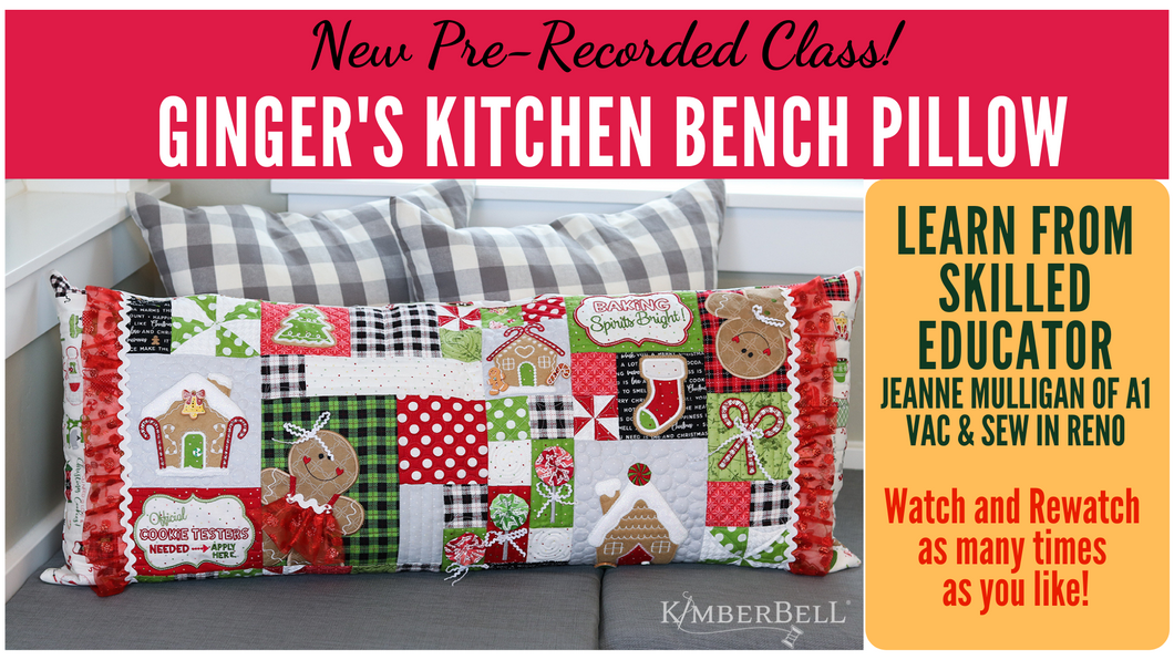 Pre-recorded Class: Kimberbell Ginger's Kitchen Bench Pillow