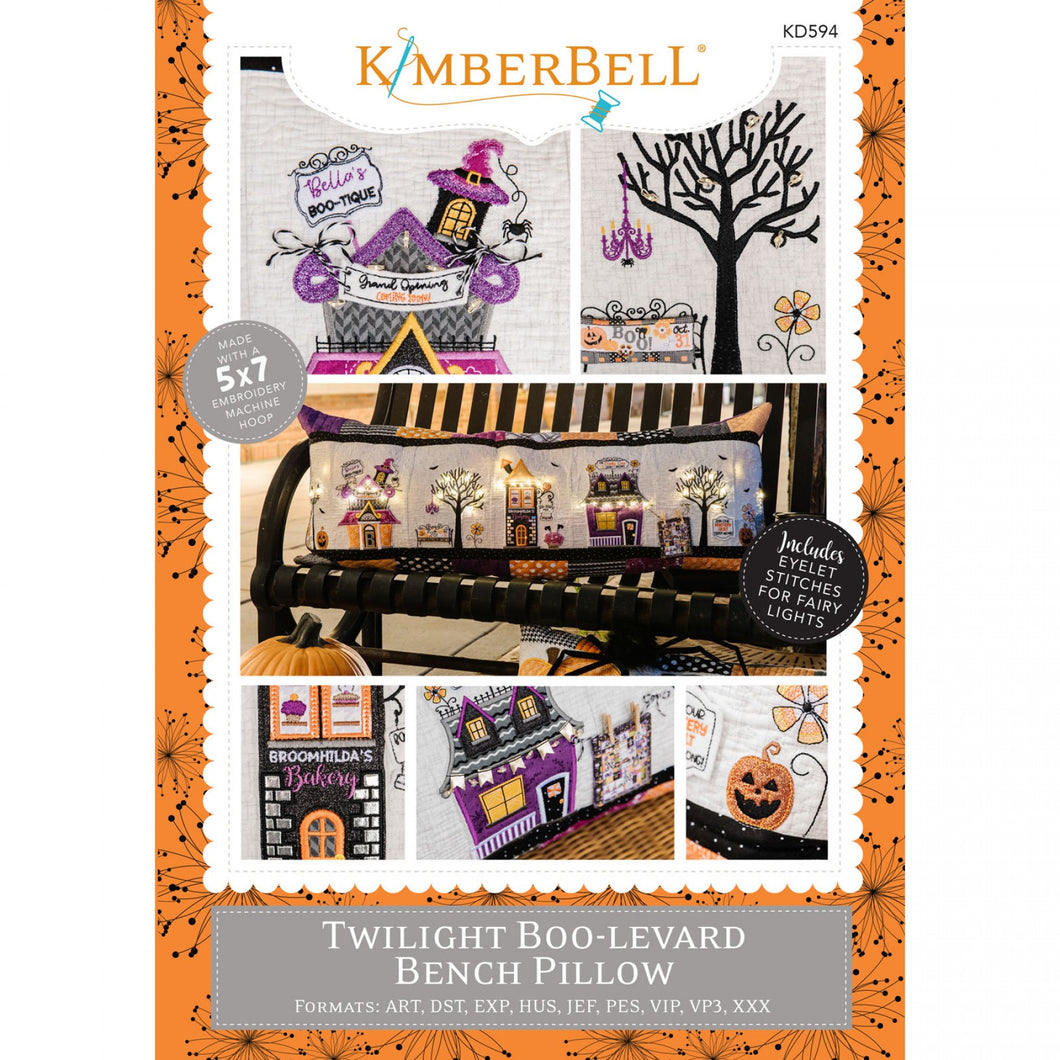 Kimberbell Twilight Boo-Levard Bench Pillow Machine Embroidery CD KID594