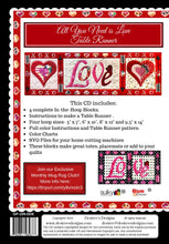 Load image into Gallery viewer, All You Need Is Love Table Runner Pattern from Desiree's Design MACHINE EMBROIDERY
