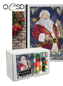 Enchanted Santa Tiling Scene Embroidery Design on USB with Thread Kit