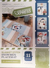 Load image into Gallery viewer, Anita Goodesign Express Blanket Stitch Snowmen Placemat