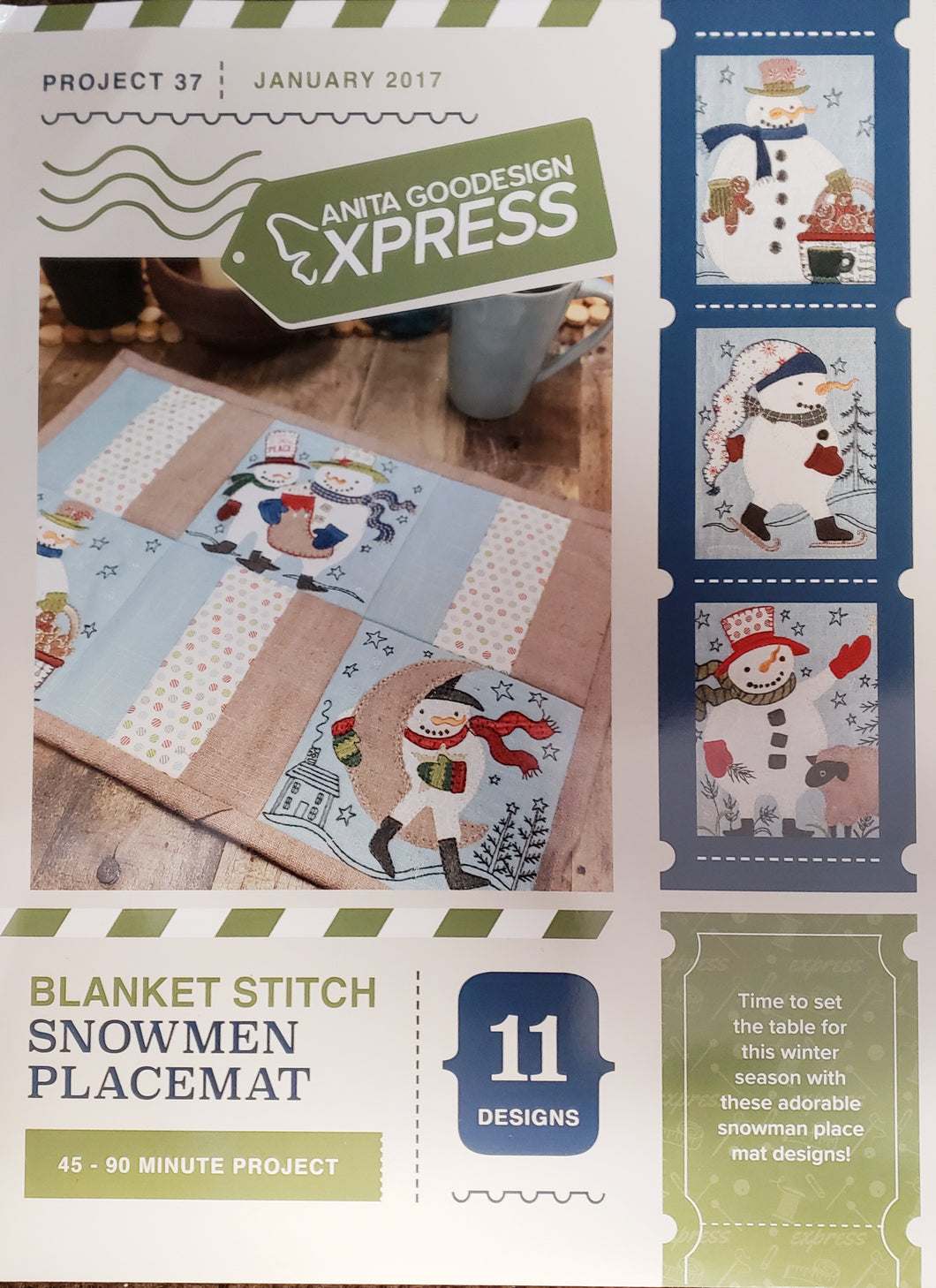 Anita Goodesign Express Blanket Stitch Snowmen Placemat