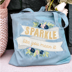 SHIPPED: FULL KIT Kimberbell Fill in the Blank: JANUARY 2021 PROJECT – Sparkle Like You Mean It Chambray Tote, EMBROIDERY DESIGN, Fabric & Embellishments AND VIDEO CLASS
