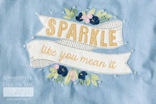 Load image into Gallery viewer, SHIPPED: FULL KIT Kimberbell Fill in the Blank: JANUARY 2021 PROJECT – Sparkle Like You Mean It Chambray Tote, EMBROIDERY DESIGN, Fabric & Embellishments AND VIDEO CLASS