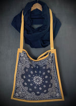 RTH SIMPLE TOTE -  BANDANA CROSSBODY - Washed Navy w/Natural Split Suede Trim