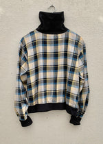 RTH T-NECK WAISTED PULLOVER - MUSTARD PLAID