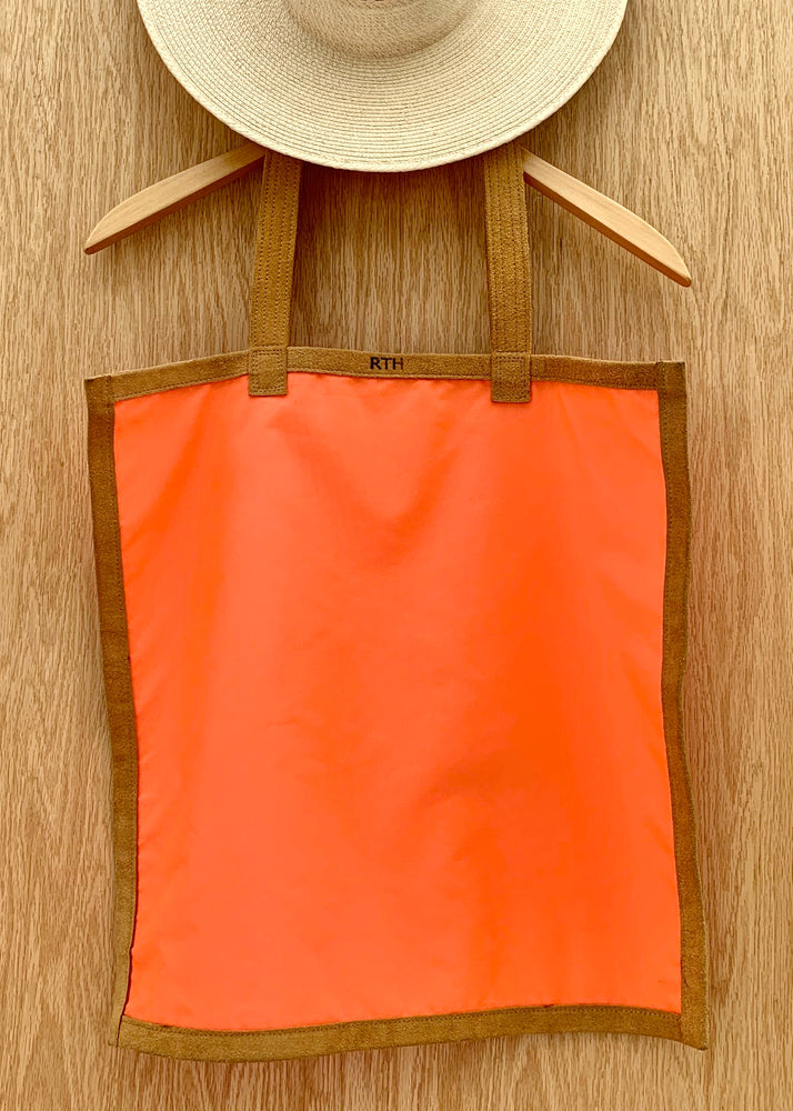 RTH SIMPLE TOTE - SAFETY ORANGE NYLON w/NATURAL ROUGHOUT TRIM
