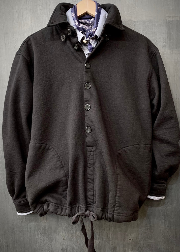 RTH DRAWSTRING WARM UP JACKET  - WASHED FLEECE - COTTON - BLACK