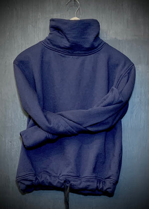 RTH DRAWSTRING TURTLENECK - WASHED FLEECE - COTTON - NAVY