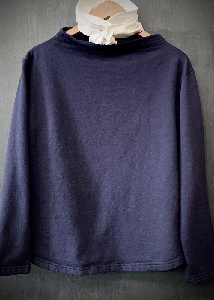 RTH BOATNECK  - WASHED FLEECE - COTTON - NAVY