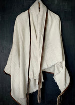 RTH THROW - AFRICAN NATURAL COTTON w/tie dye leather trim