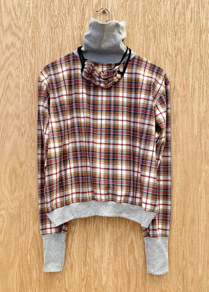 RTH T-NECK WAISTED PULLOVER - PLAID/RED