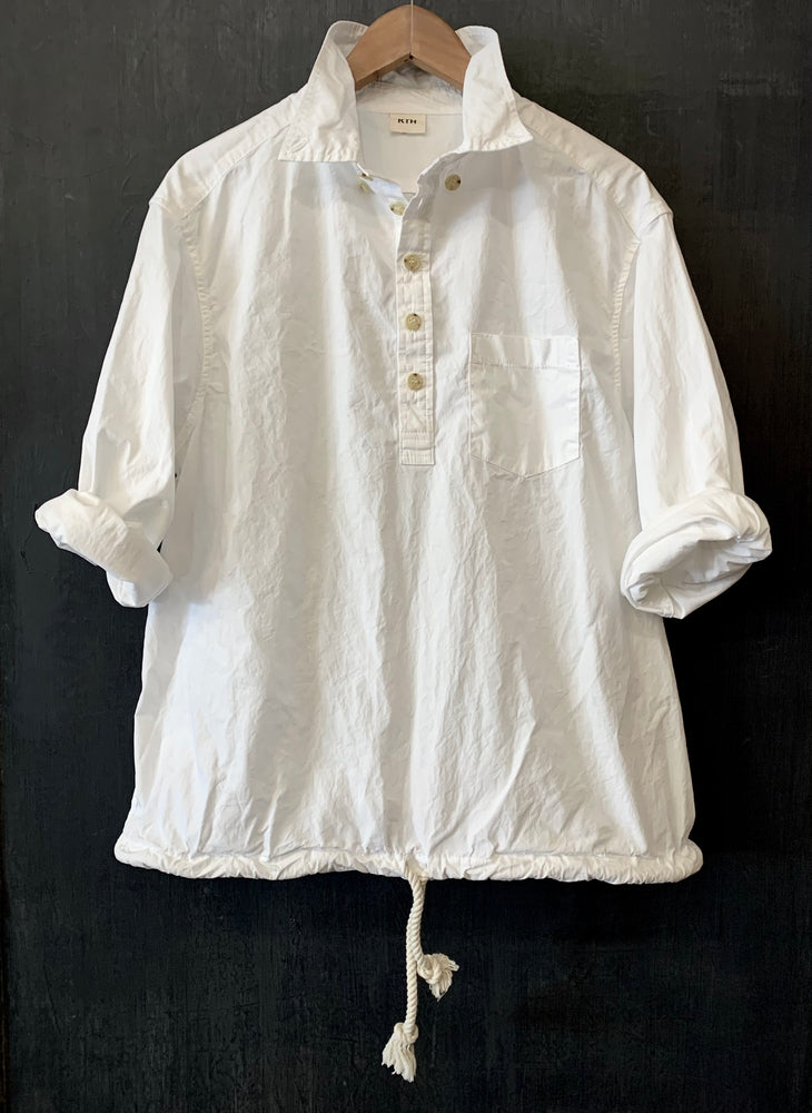"RTH DRAWSTRING ""BIG"" POPOVER - ONE SIZE -White-washed poplin"
