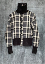 RTH T-NECK CARDIGAN - PLAID/CHARCOAL