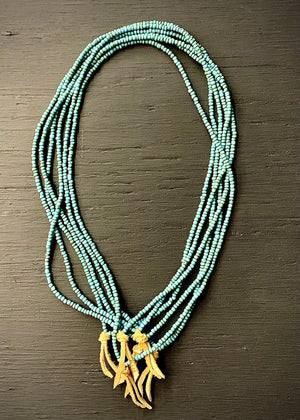 RTH LOVE KNOT NECKLACE - GLASS PEBBLES -TURQUOISE w/ natural suede