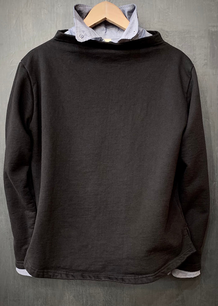 RTH BOATNECK  - WASHED FLEECE - COTTON - BLACK