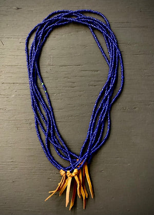 RTH LOVE KNOT NECKLACE - GLASS PEBBLES- Lapis w/ pecan suede
