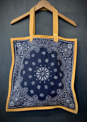 RTH SIMPLE TOTE - BANDANA - Washed Navy w/Natural Split Suede Trim