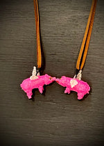 Found Hand Beaded Creatures-Flying Pigs- Pink