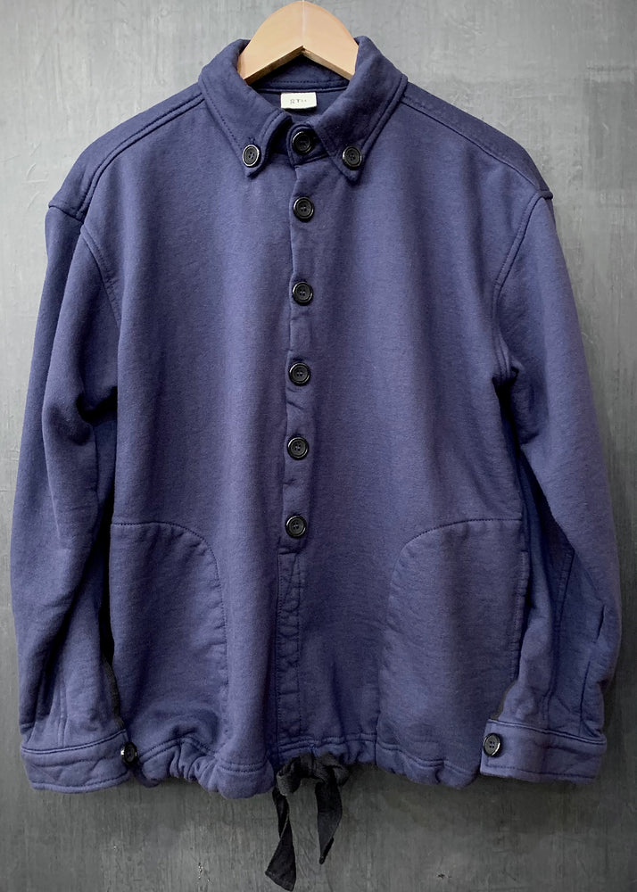 RTH DRAWSTRING WARM UP JACKET - WASHED FLEECE - COTTON - NAVY