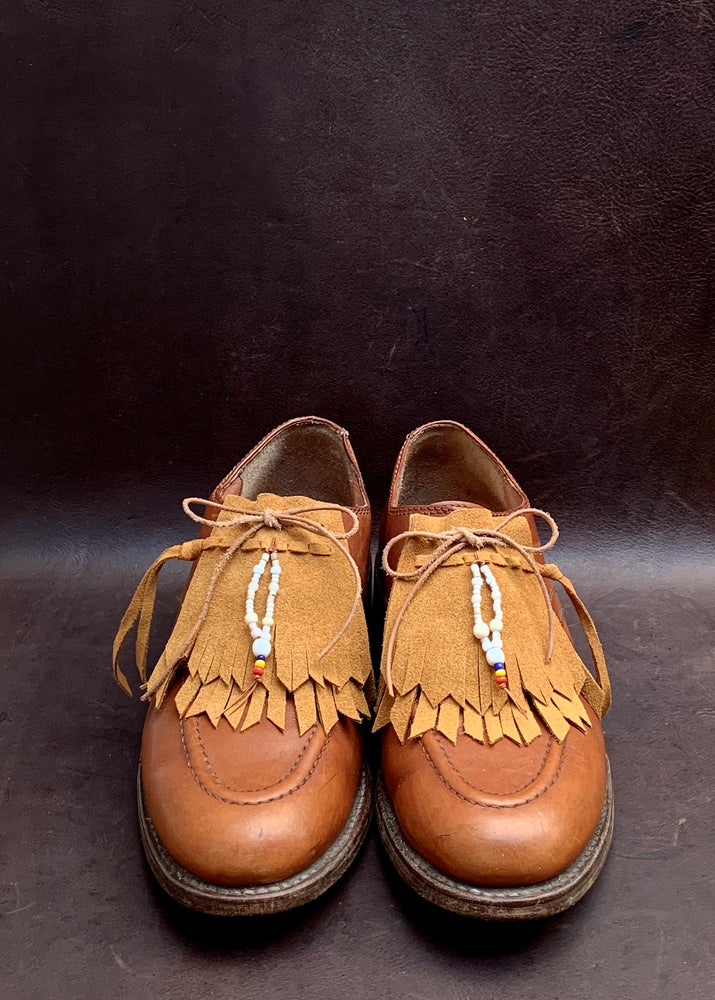 RTH (ooak)SHOE KILTIES BEADED TASSEL - Natural Roughout