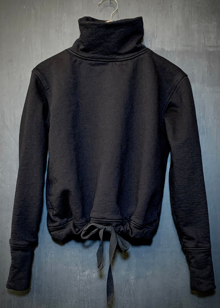 RTH DRAWSTRING TURTLENECK - WASHED FLEECE - COTTON - BLACK