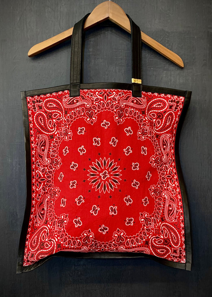 RTH SIMPLE TOTE - BANDANA - RED w/ Black Leather Trim