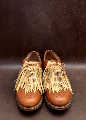 RTH (ooak)SHOE KILTIES - DEER TAN COWHIDE  - regular/beaded