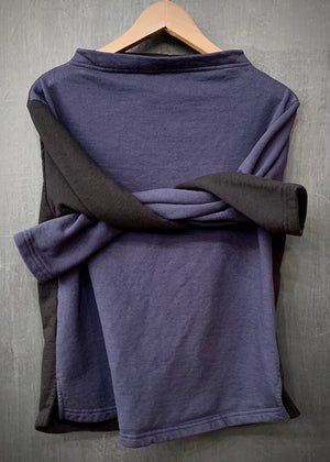 RTH BOATNECK  - WASHED FLEECE - COTTON - COLOR BLOCK (navy front)