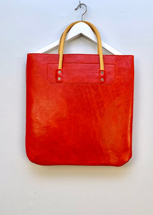 RTH GENTS TOTE - GLOSSY RED - LEATHER