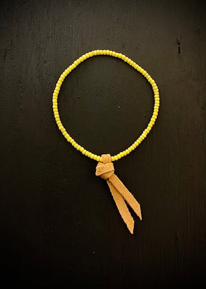 RTH LOVE KNOT BRACELET- VINTAGE BEADS- yellow w/ natural suede