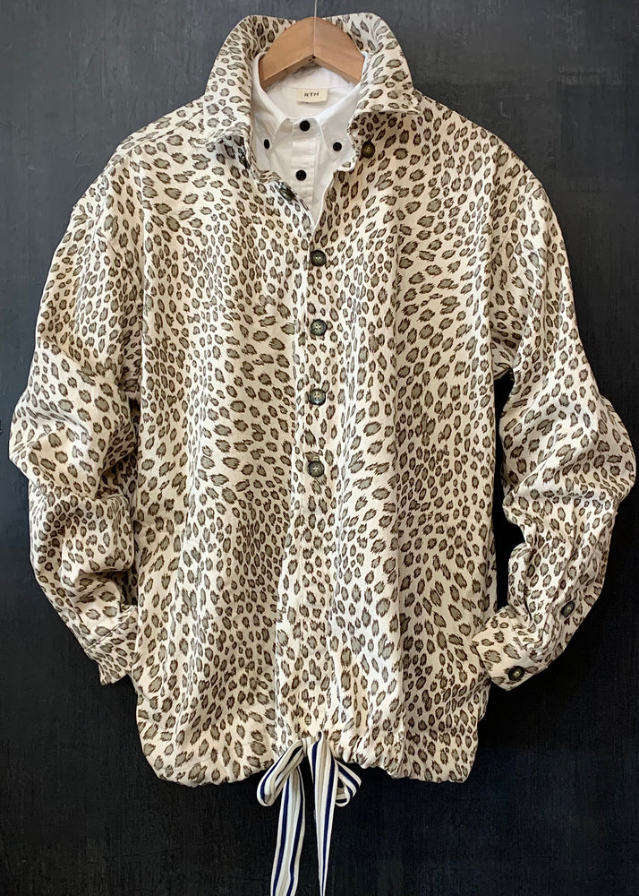 "RTH ""BIG"" DRAWSTRING WARM-UP JACKET- Cotton Stretch Twill - Natural Leopard"