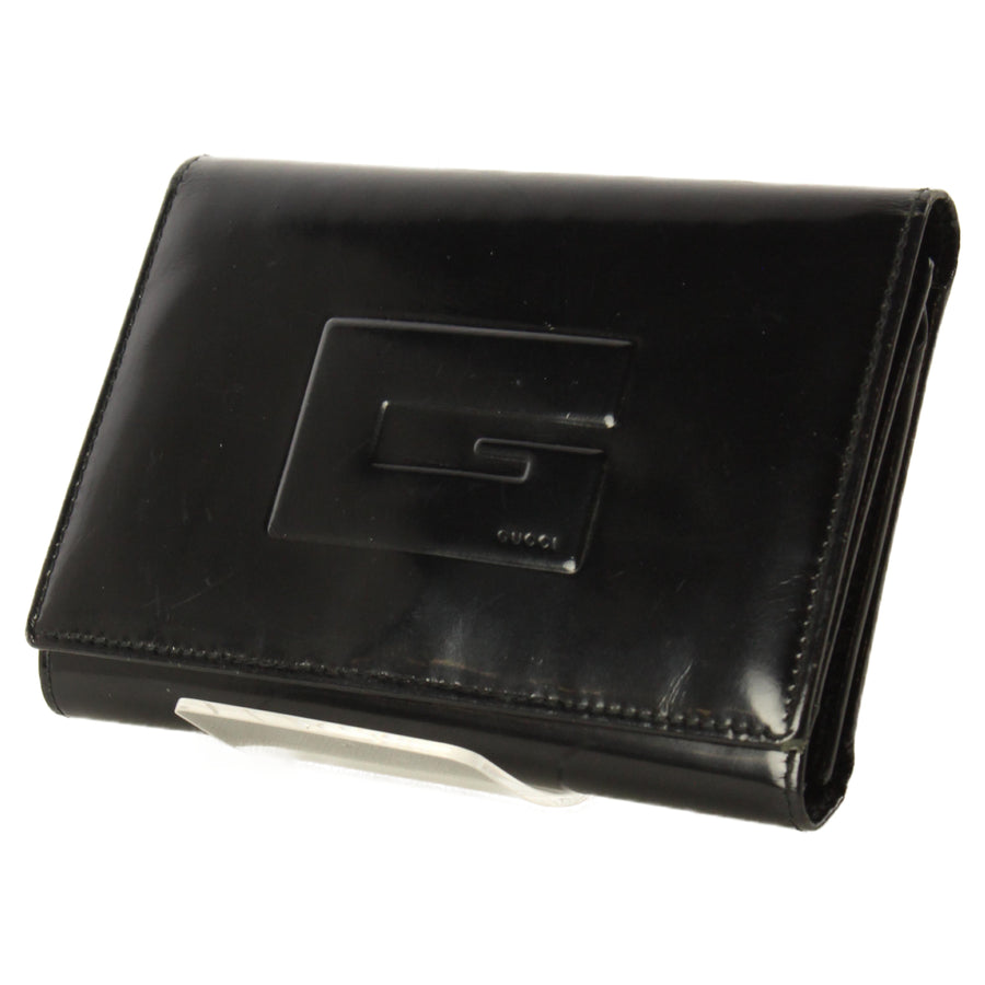GUCCI/Trifold Wallet/BLK/Leather