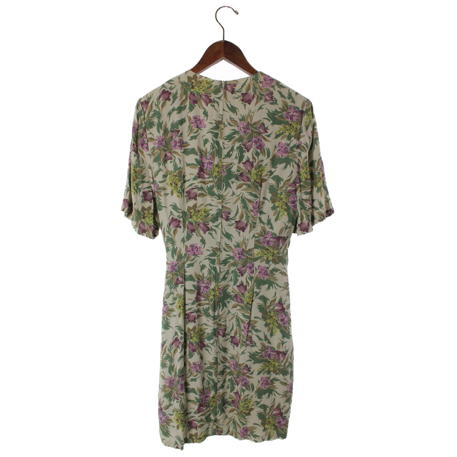 LAURA ASHLEY/SS Dress/10/Polyester/BEG/Flower Print