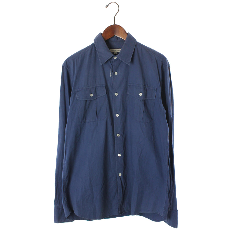 DRIES VAN NOTEN/LS Shirt/48/Cotton/NVY