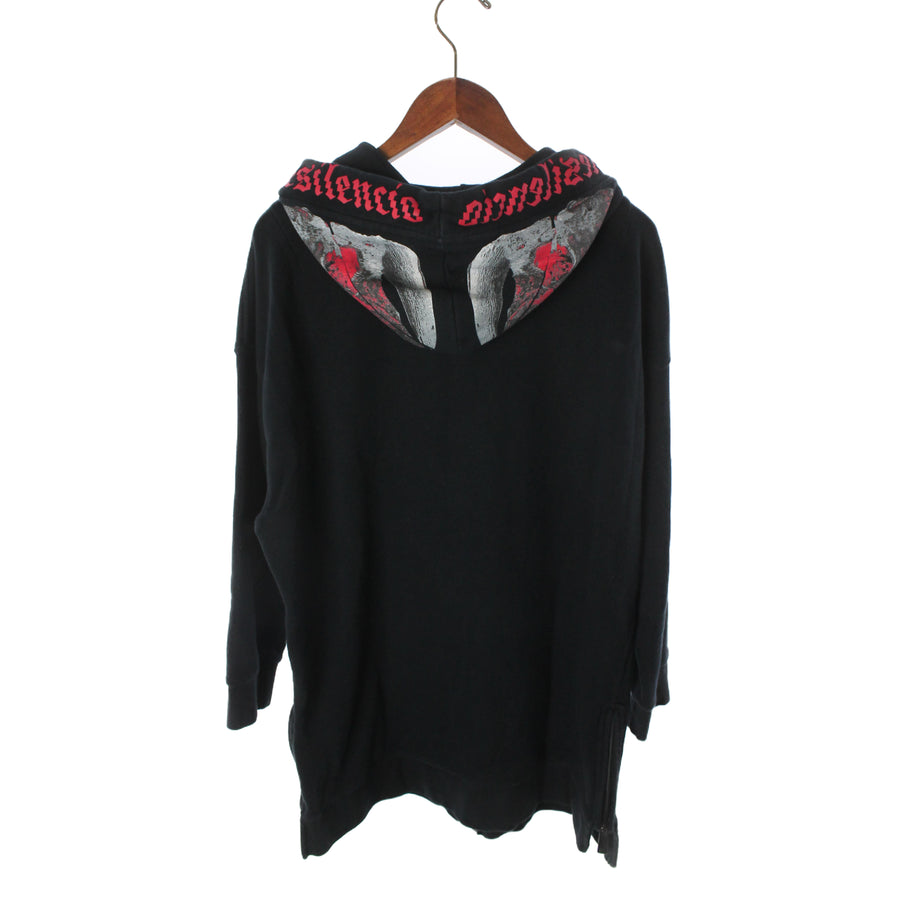 MARCELO BURLON COUNTY OF MILAN/PEDRO SKULL PRINT ZIP HOODIE/Zip Up Hoodie/XS/Cotton/BLK