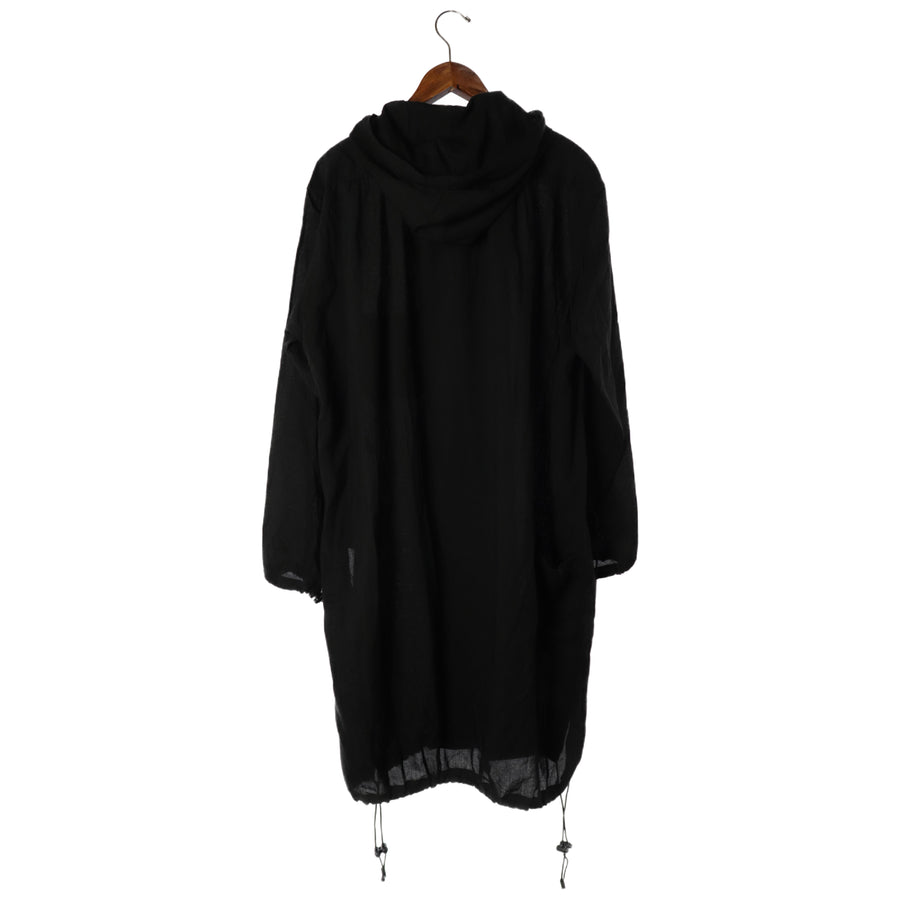 Y-3/HOODED LONG SHIRT/S/Cotton/BLK